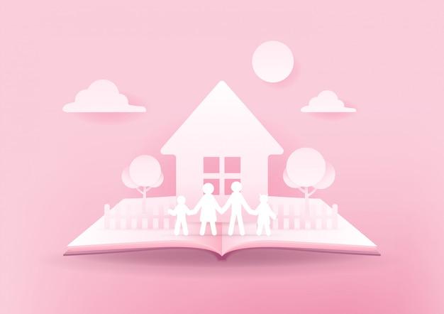 Open boek van gelukkige familie, huis en familie papier 3d op roze