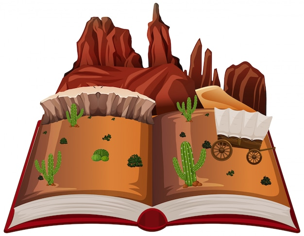 Open boek westelijke woestijn thema