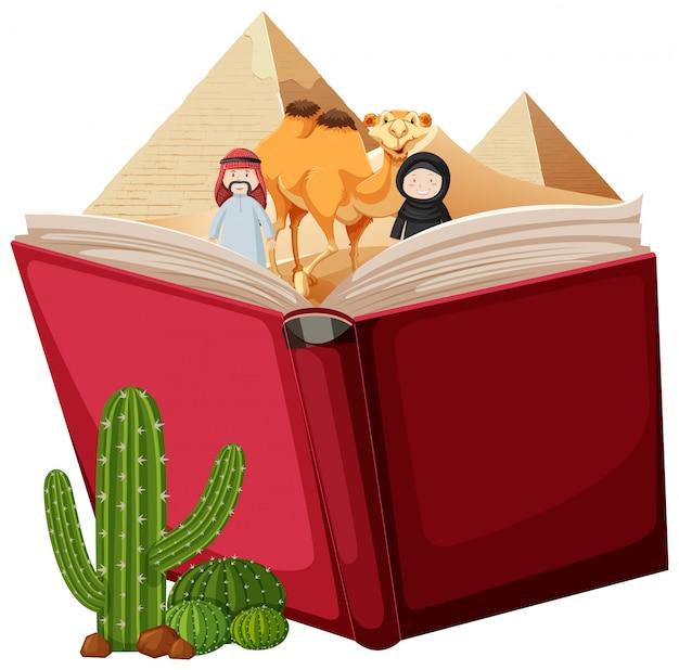 Open boek woestijn thema