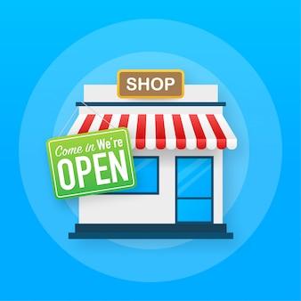 Open borddeur. winkel of markt winkel voorkant buitengevel. illustratie.