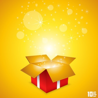 Open cadeaukaart box art. vector illustratie