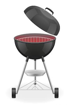 Open de barbecuegrill met warmte