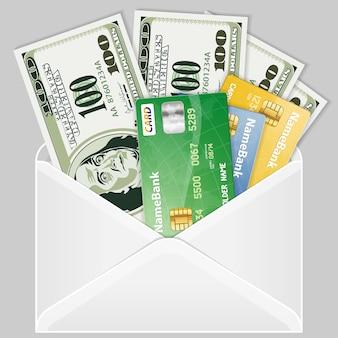 Open de envelop met dollarbiljetten en creditcards
