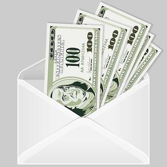 Open de envelop met dollarbiljetten
