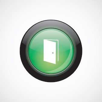 Open deur glas teken pictogram groene glanzende knop. ui website knop