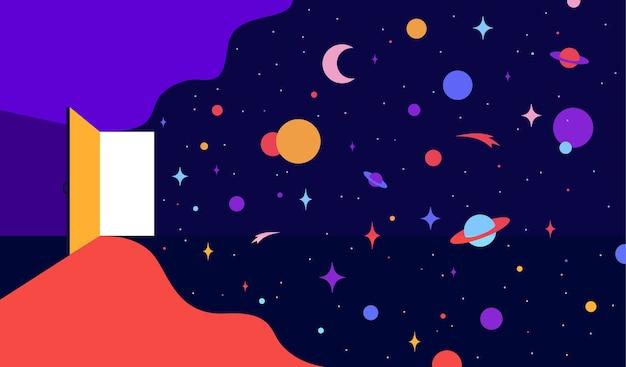Open deur met universumdromen, optimistisch thema volg je dromen
