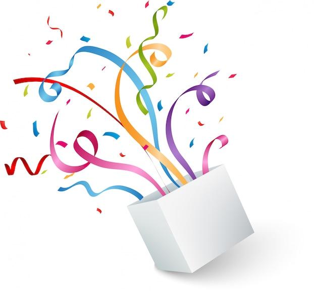 Open doos met kleurrijke confetti en lint