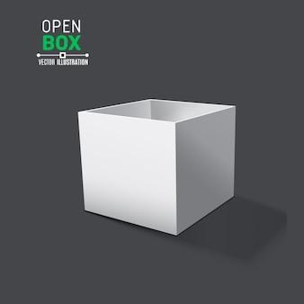 Open doos met realistische schaduwen op een grijze achtergrond vector illustratie