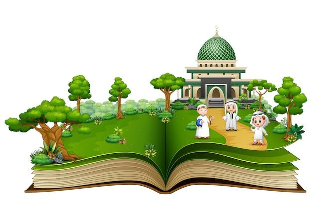 Open een boek met een groep gelukkige moslims