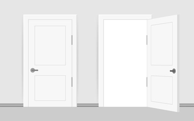 Open einde gesloten deur. interieur ontwerp. bedrijfsconcept. vooraanzicht. thuiskantoor concept. zakelijk succes.