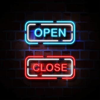 Open en dicht neon stijl teken illustratie