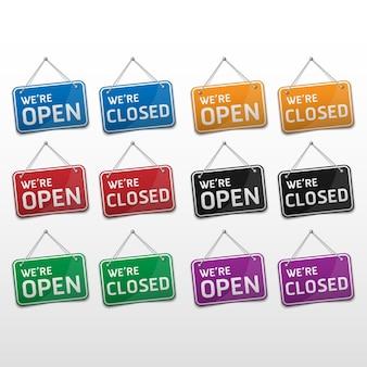 Open en gesloten bord met schaduw geïsoleerd op een witte achtergrond, vectorillustratie