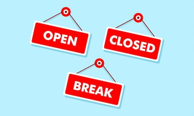 Open en gesloten borden aan boord van hangende illustratie