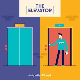 Open en gesloten lift met plat ontwerp