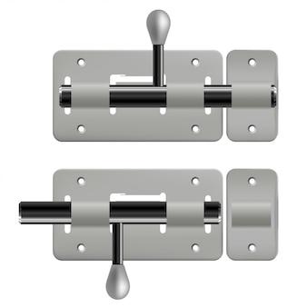 Open en gesloten metalen grendels op wit