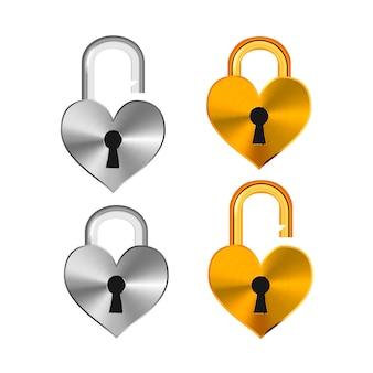 Open en gesloten realistische hangsloten in hartvorm gemaakt van verschillende metalen op wit