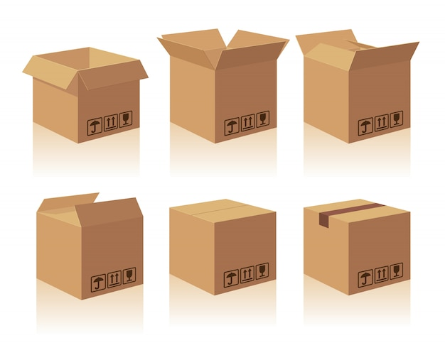 Open en gesloten recycle bruine kartonnen verpakking met kwetsbare borden. collectie illustratie geïsoleerde doos met schaduw op witte achtergrond voor web, pictogram, banner, infographic