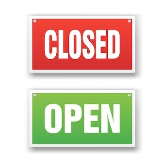 Open en gesloten uithangbord Premium Vector