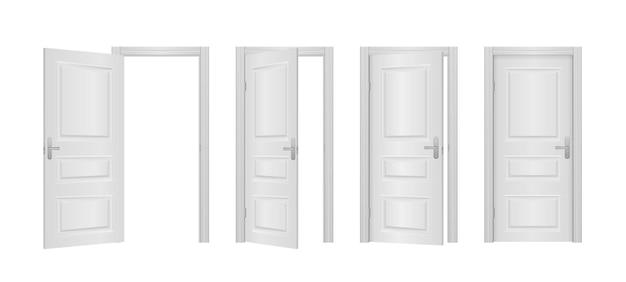 Open en gesloten voordeur van de huis geïsoleerde illustratie