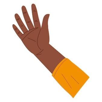Open en opgeheven hand