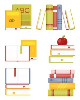 Open en sluit boeken in verschillende stapel