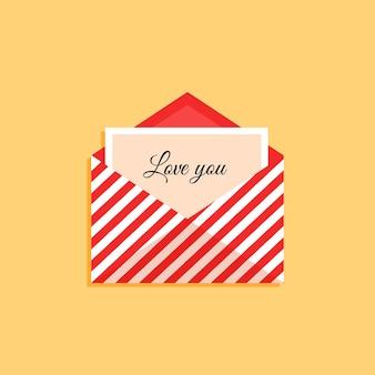 Open envelop met een kaartje met de tekst i love you in een vlakke stijl