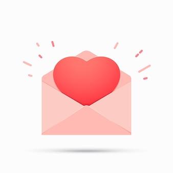 Open envelop met hart.