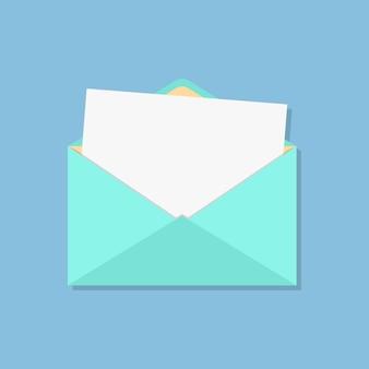 Open envelop met wit vel