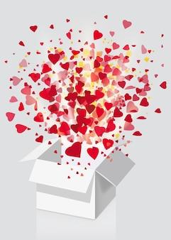 Open explosie witte geschenkdoos vliegen harten en confetti happy valentine's day