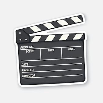 Open filmklapper gebruikt in de bioscoop bij het opnemen van een film filmindustrie vectorillustratie