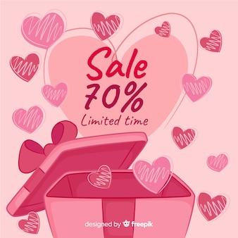 Open geschenk doos valentine verkoop achtergrond