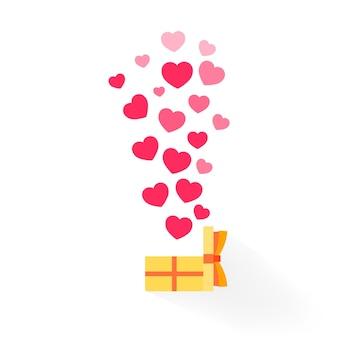 Open geschenk met harten die van binnenuit naar buiten vliegen. geschenk van liefde concept. fijne valentijnsdag. vector op geïsoleerde witte achtergrond. eps 10