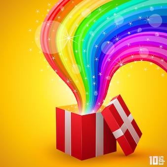 Open geschenk met regenboogkunst. vector illustratie
