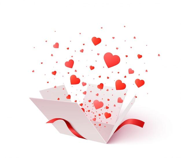 Open geschenkdoos met hartvorm confetti burst explosie. 3d valentijnsdag. romantisch cadeau