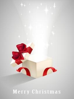 Open geschenkdoos met sprankelende lichten geïsoleerd op grijs