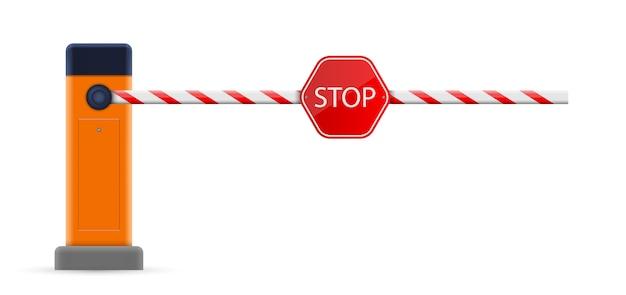 Open, gesloten parkeerplaats auto slagboom, stop grens