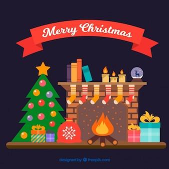 Open haard achtergrond met kerst decoratie in plat design