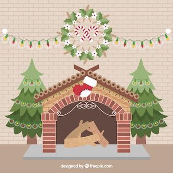 Open haard achtergrond met mooie kerst decoratie