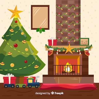Open haard kerstmis achtergrond