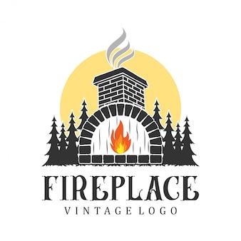 Open haard logo vintage, voor onroerend goed en service
