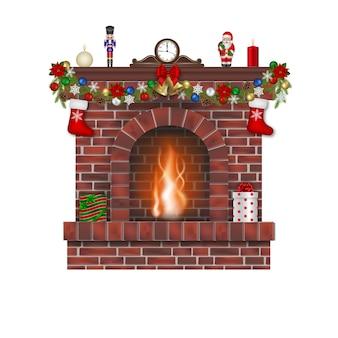 Open haard met kerstversiering