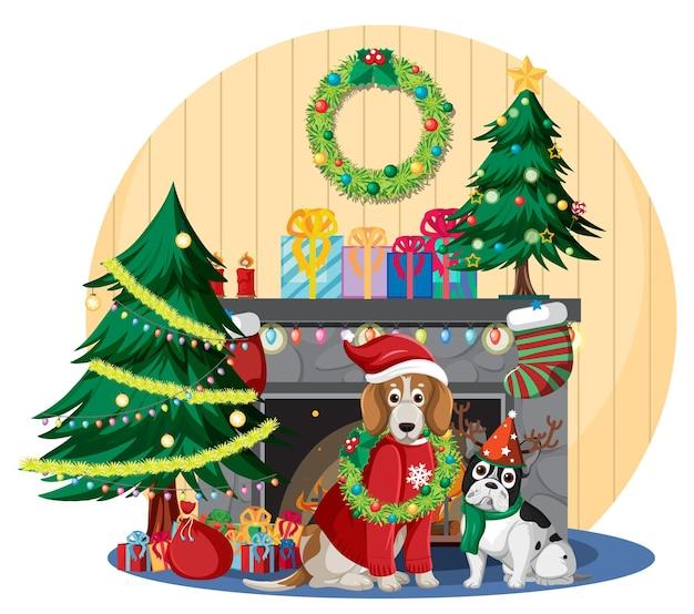 Open haard met schattige honden en kerstversiering