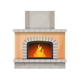 Open haard of haard, vuur in interieurdecoratie