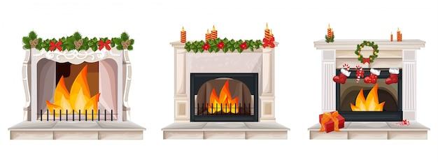 Open haard set collectie met kerst decor vector