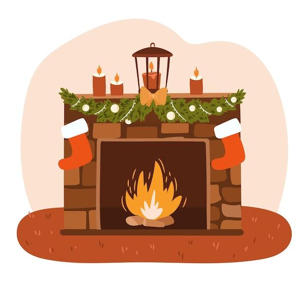 Open haard versierd met kerstelementen geïsoleerd op witte achtergrond