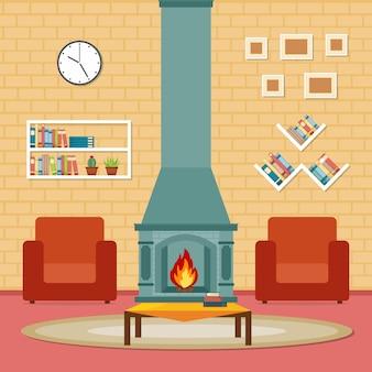 Open haard woonkamer familie huis interieur meubels vectorillustratie