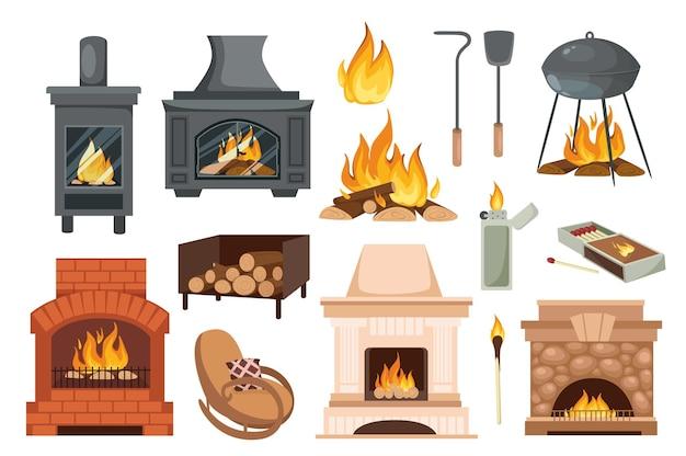 Open haarden en haarden ontwerpelementen instellen. verzameling van diverse haarden, vuur, brandend hout, pook, schep, schommelstoel en meer. vectorillustratie geïsoleerde objecten in platte cartoonstijl