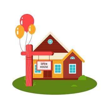Open huis bord met ballonnen en thuis