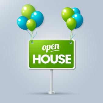Open huis bord met ballonnen