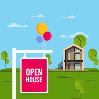 Open huis bord met huis